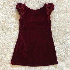 Ralph Lauren Red Velvet Dress Puff Cap Sleeves 5